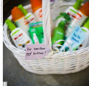 """cute idea that we may have to use for our outdoor summer wedding """"be smitten not bitten"""""""