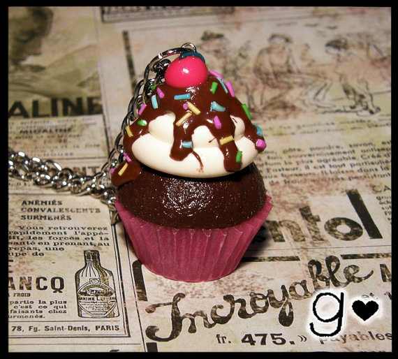 Delicious Cupcake Necklace by GabriellesCreations on Etsy, $24.00