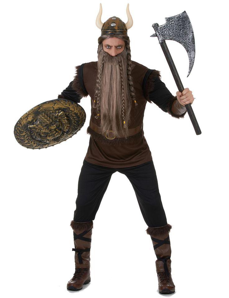 Disfraz de vikingo hombre: Este disfraz de vikingo para hombre incluye camiseta, pantalón, casco, manguitos y calentadores (hacha, barba, peluca y escudo no incluidos). La camiseta es de manga larta y color...