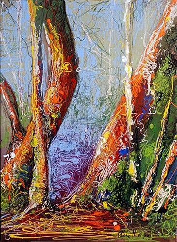 "Clare Hartigan, ""Through the Woods"" #art #woods #forest #paintdrips #trees #splatter #bright #colors #splatter #painting #pollock #DukeStreetGallery"