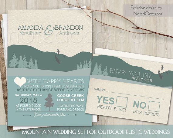Mountain Wedding Invitations For Rutic Outdoor Weddings Designed With  Mountains In Mind. The Wedding Invitation Is And Has A Burlap Background