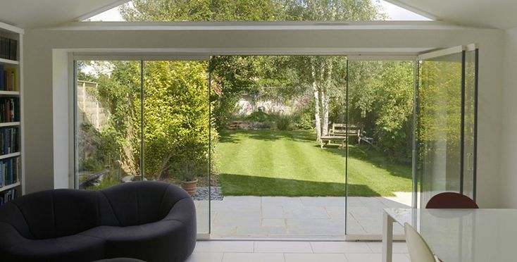 Bi Folding Patio Doors, Aluminium Folding Sliding Glass Patio Doors - Frameless Glass Curtains