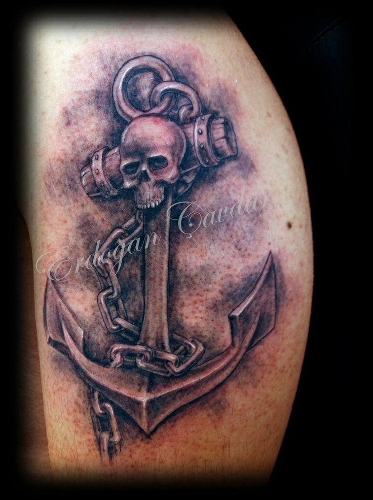 skull anchor tattoos dads skulls