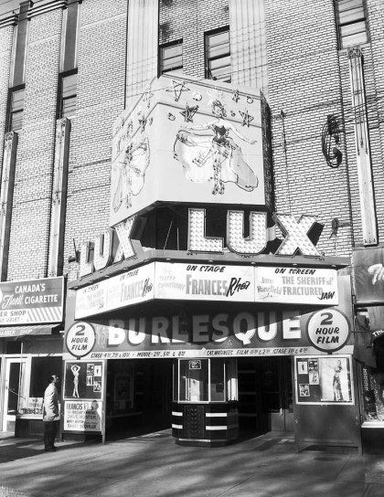 Lux Burlesque Theatre marquee sign, 1960s. City of Toronto Archives, Series 1057, Item 474.