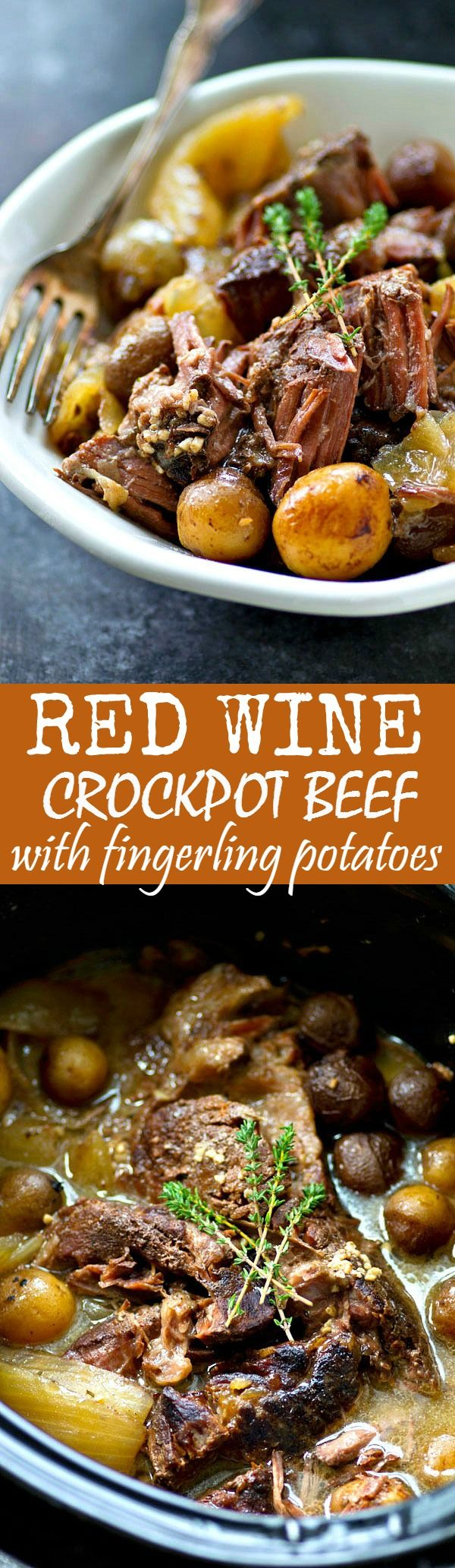 The most tender crockpot beef EVER! This easy beef dinner is unbelievably flavorful thanks to the red wine and lots of tender little fingerling potatoes make it an entire hands-off meal!