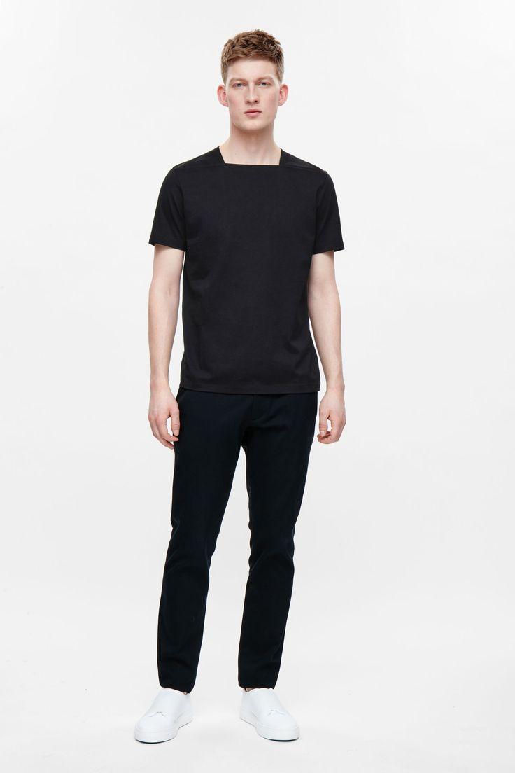Square-neck cotton t-shirt