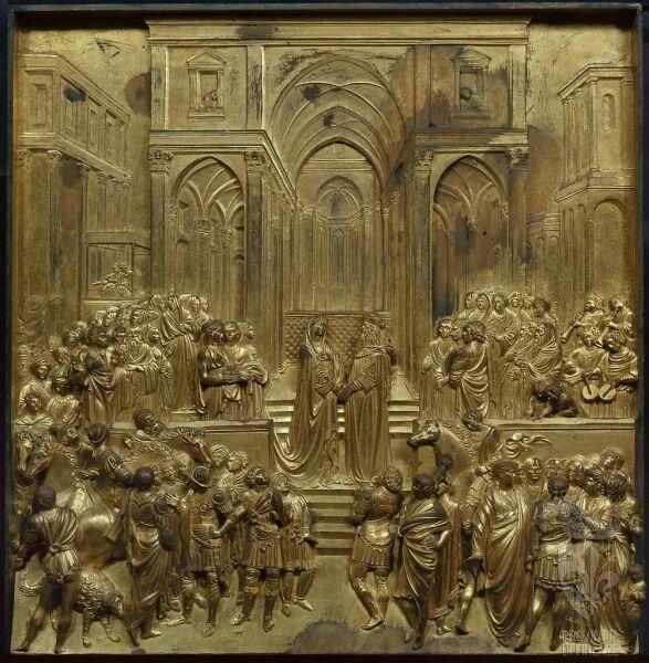 Particolare della Porta del Paradiso: Incontro di Salomone con la regina Saba Autore Lorenzo Ghiberti, Ubicazione Battistero di Firenze