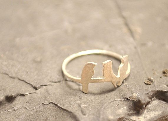 birds on wire sterling silver ring unique cute by AnnaDCreations, €20.00