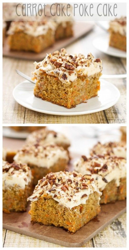 Spicy carrot cake poked to death, doused in sweetened condensed milk, and then covered in cream cheese frosting!