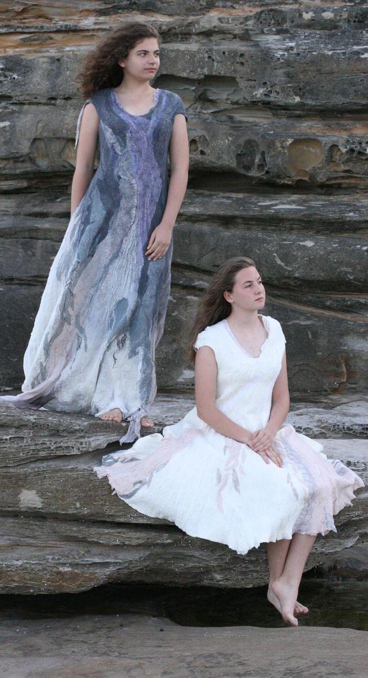 Buy the unique fashion felted dresses by Vera Alexanderova. #felt #unique #uniquedress #handmade #handmadedress #eco #ecofashion #ecofriendly #nuno #nunodress #felteddress #felted #boho #bohochic #bohostyle #bohowedding #wedding #weddingdress