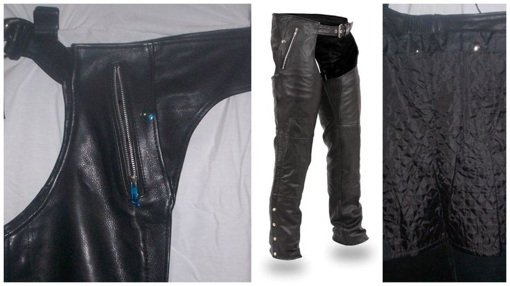 1191 Black Unisex Leather Chaps - Removable Snap Outliner by AntelopeCreekLeather on Etsy