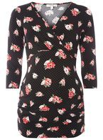 Womens **Maternity Black Floral and Spot Print Wrap Top- Black