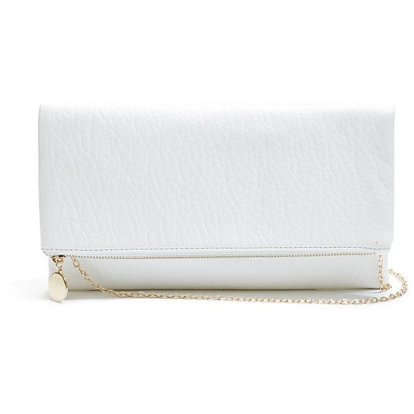 GUESS Fold-Over Clutch found on Polyvore featuring bags, handbags, clutches, bolsos, white, guess purses, chain purse, guess handbags, imitation purses and white handbags