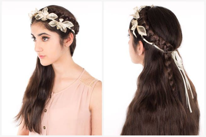 Demi Braid and Floral Headpiece  THE END RESULT: The Mesh Lotus Crown Headstrap and demi braid is the perfect ethereal style if you're Coachella bound and want something a little more chic than boho or if you're attending a garden wedding and need an elegant yet whimsical finishing touch to your look.