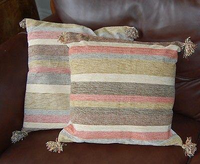 "New 2 handwoven cushion covers cotton cream green terracotta 16"" RRP £19 each"