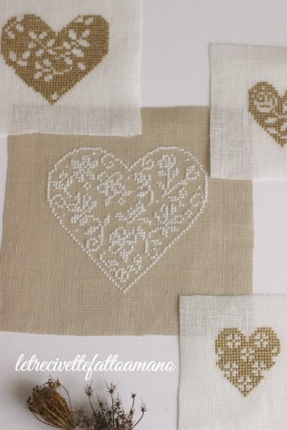 hearts - embroidery - coeurs