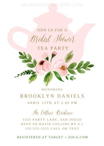 Tea Party Bridal Shower Ideas Invitations Edit Print Today
