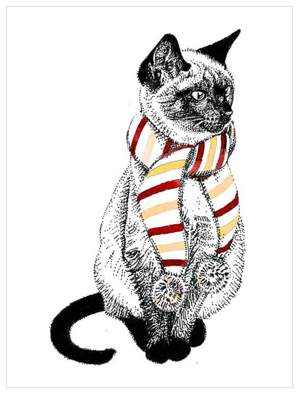 Holiday Collection Siamese Cat In A Scarf Wall Art Cat Art Cat Artwork Art