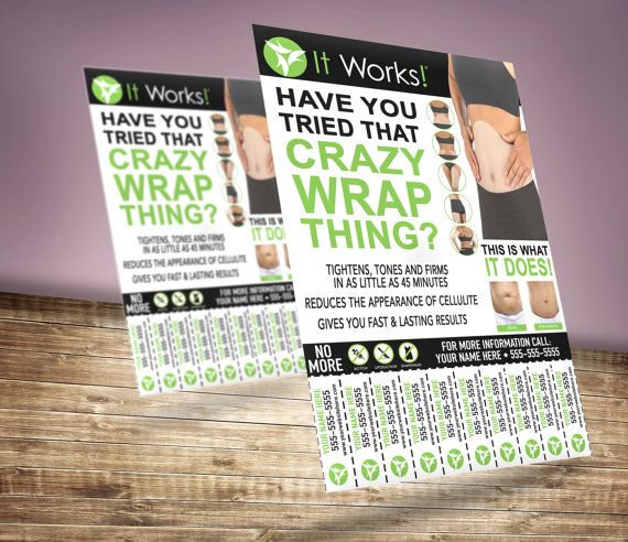 It Works Global Contact Flyer - Tear Off - Customized - U Print - Crazy Wrap Thing - Advertising