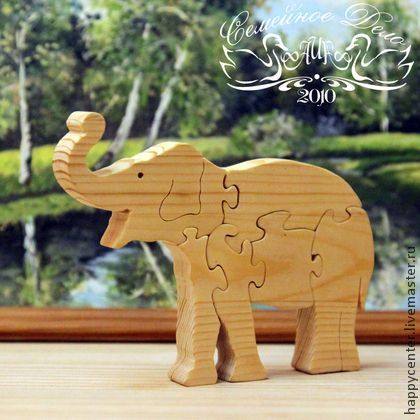 """Пазлы деревянные """"Слон"""". Развивающая игрушка для детей. - бежевый,пазлы"""