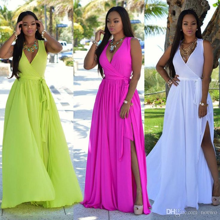 2016 Chiffon Maxi Dresses For Womens Casual V Neck Bandage Split Summer Fashion Plus Size Dress Wholesale 2362 Green Dress Party Pink And White Dresses For Juniors From Notwo, $14.6| Dhgate.Com