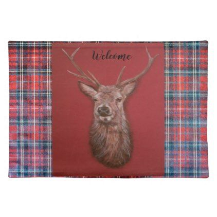Fine Art red Deer Stag Cloth Placemat - kitchen gifts diy ideas decor special unique individual customized