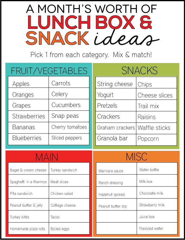 I just love this! A month's worth of lunch box and snack ideas - have kids mix and match to create their lunch