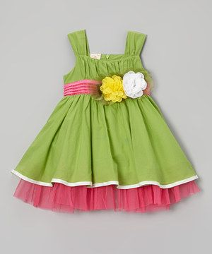 Another great find on #zulily! Green Flower Dress - Toddler & Girls by the Silly Sissy #zulilyfinds