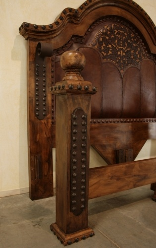 This is our Cama Alamo with tooled leather, Many of our pieces can be ordered to be upholstered with our unique tooled leather work.