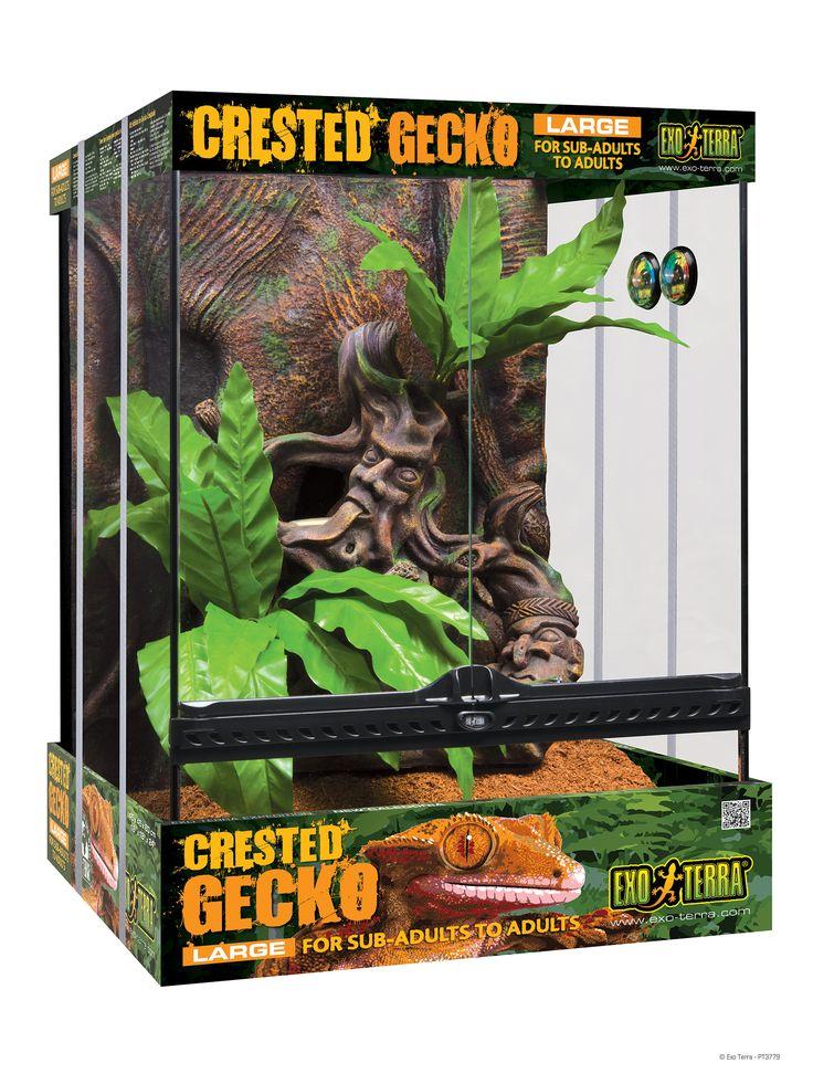 "Crested Gecko Habitat Kit with tribal art - Large - 18"" x 18"" x 24"" / Exo Terra"