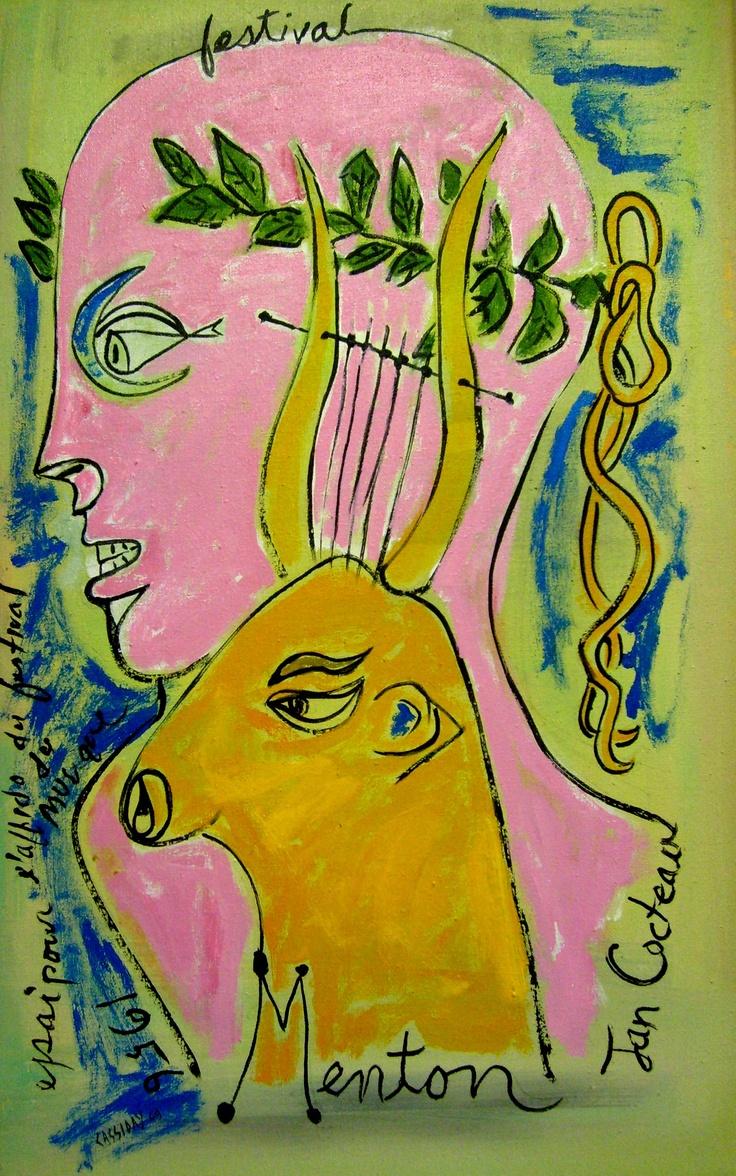 Jean Maurice Eugène Clément Cocteau, French poet, novelist, dramatist, designer, playwright, artist and filmmaker.