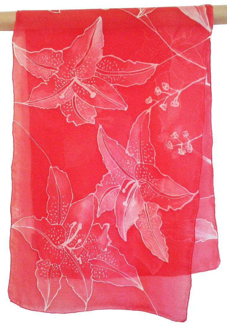 Red Hand painted Silk Scarf orchids, Zijden sjaal met de hand beschilderd rode orchidee,140 x 40 cm (55 x 15, 5) inches, 100 SILK door Silkatelier op Etsy