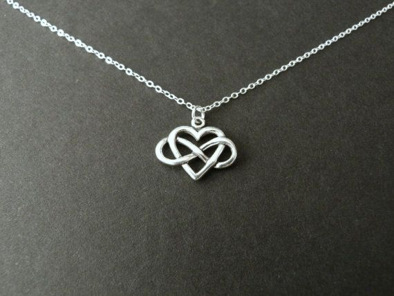 Infinity Heart Necklace, Sterling Silver Jewelry, Always Charm, Girlfriend Gift, Love Gift Idea