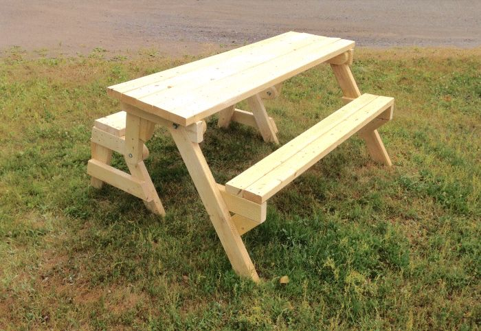 Folding picnic table from 2x4 lumber in table mode made by G.A. Miedema