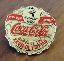 Coca-Cola Bottle Cap with Ribbon Sydney 2000 Olympic Pin