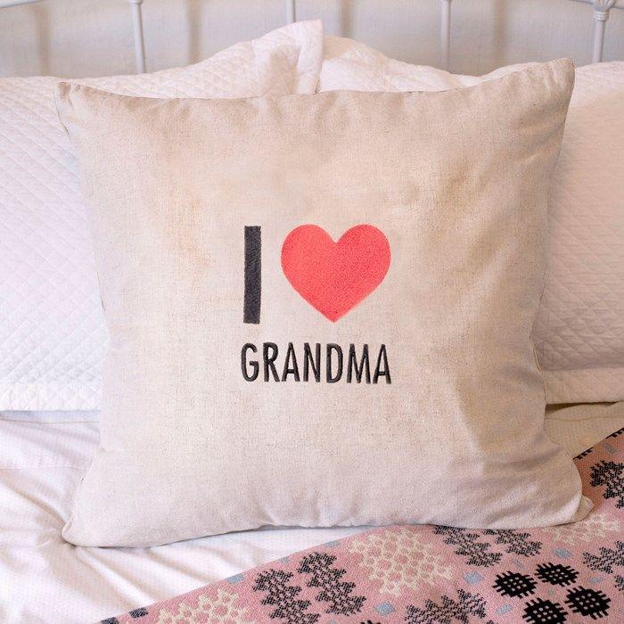 Personalised Natural Cushion - I Love | GettingPersonal.co.uk