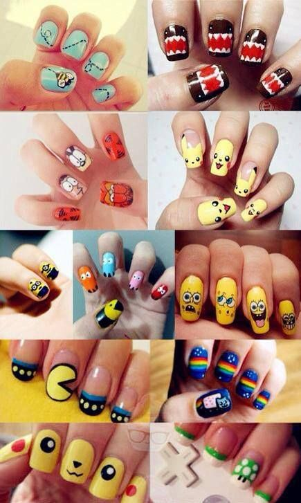 animated nail arts- its the Pikachu and the pac-man that made me pin this :p