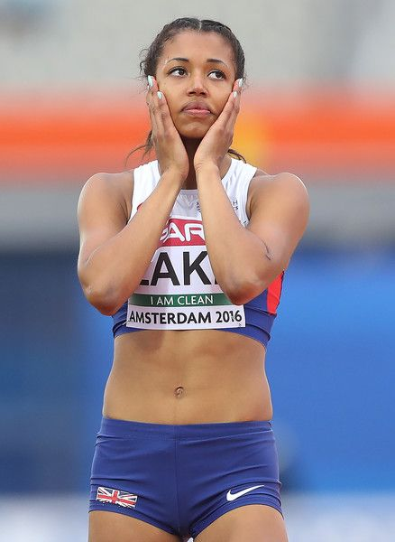 Morgan Lake of Great Briatin reacts during the womens heptahlon on day three of The 23rd European Athletics Championships at Olympic Stadium on July 8, 2016 in Amsterdam, Netherlands.