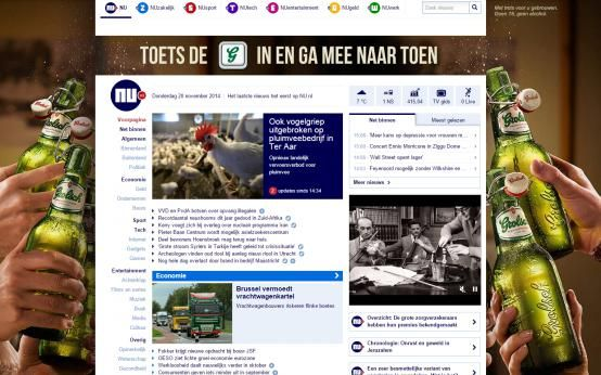 Nu.nl Homepage Takeover by Grolsch #beer #ad #HPTO #Display #richmedia #banner #marketing #digital