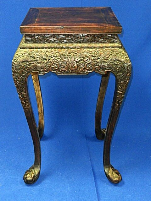 Antique Qing Chinese Hong Mu Carved Wood Dragon Motif Jardiniere Stand