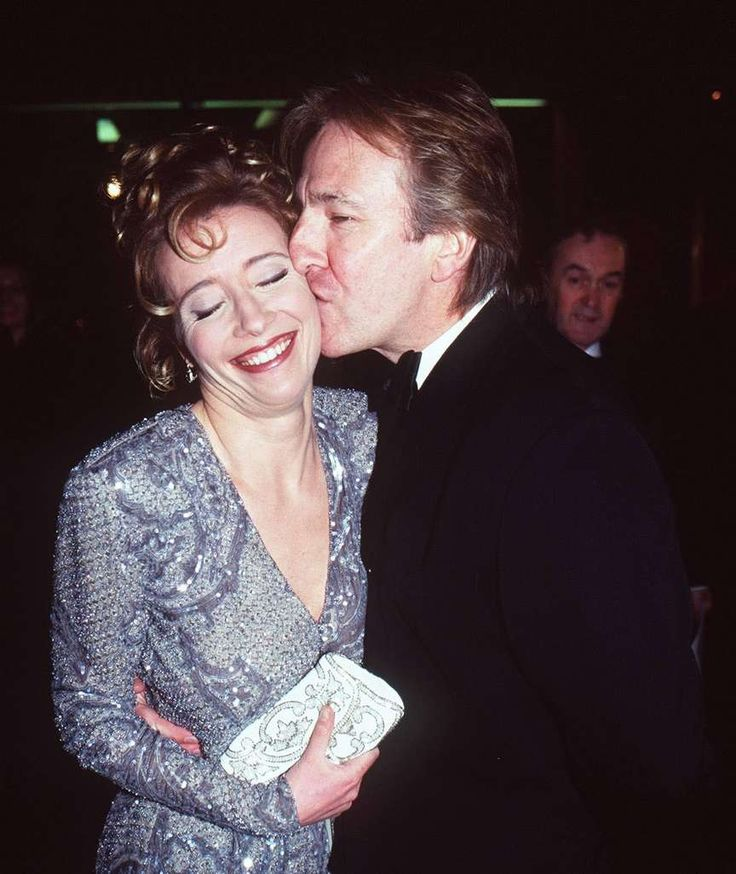 "1997 - Alan Rickman with Emma Thompson at a ""Sense & Sensibility"" premiere."