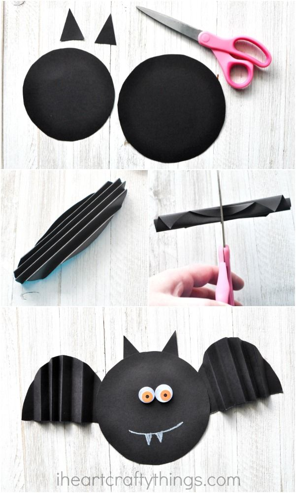 This simple accordion fold paper bat craft makes a great Halloween kids craft, preschool Halloween craft and family fun activity.