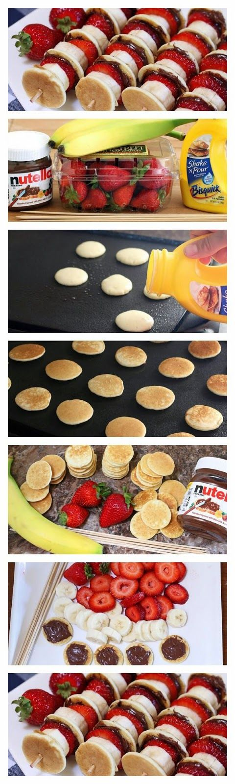 party food..this looks good...you could do this with mini waffles and chicken nuggets pancakes the banana a piece of bacon and peanut butter and call it elvis...the possibilities of things on a stick are endless...but this looks so good...great for little kids party for breakfast