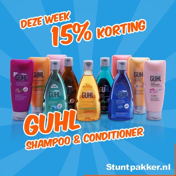 Met Guhl gun je jezelf met iedere wasbeurt iets bijzonders. Of je nu jouw droge haar wilt verzorgen, meer volume wilt of op zoek bent naar een specifieke shampoo tegen roos: Guhl heeft alle lijnen en producten.  Deze week 15% KORTING op Guhl Shampoo & Conditioner!   www.stuntpakker.nl