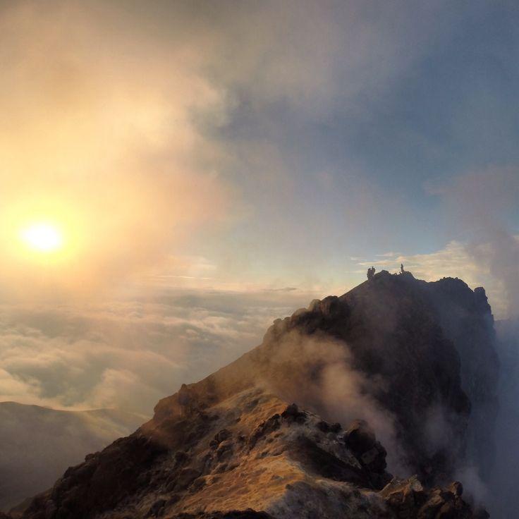 On the summit of Mount Merapi, Indonesia.