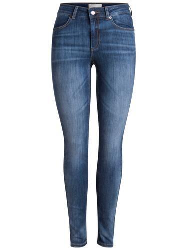 #PIECES #Damen #Jeggings #Normal #taillierte #blau Knopf- und Reißverschluss - Destroyed-Details - Taschen - Gürtelschlaufen - Baumwollmix