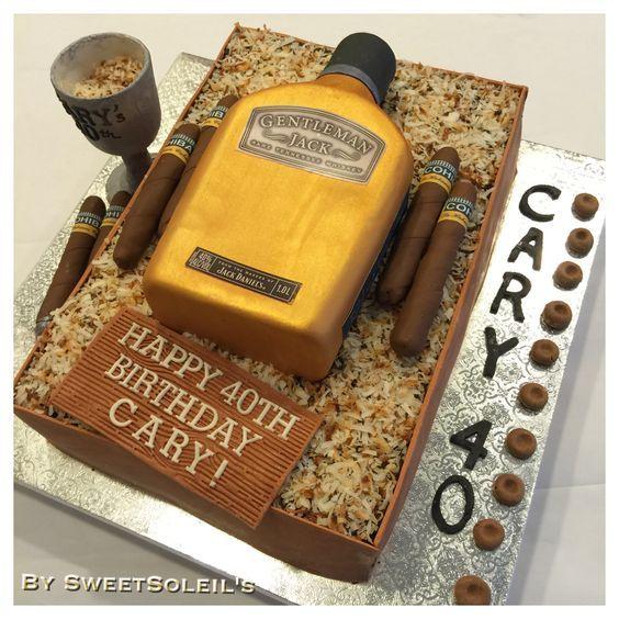 Gentleman Jack Whiskey bottle Cake and Cohiba cigar cake: