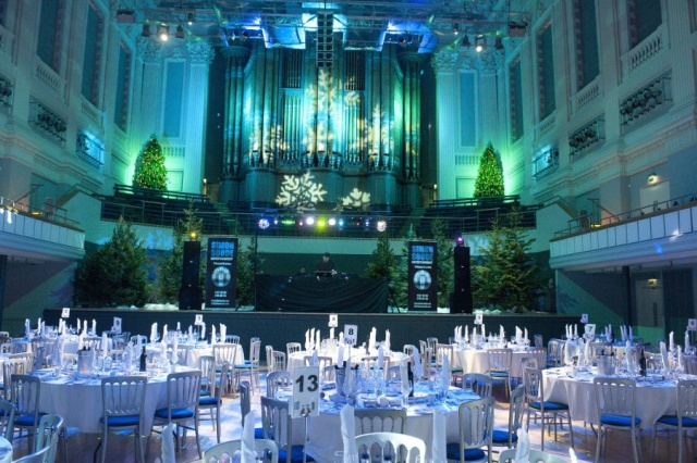 The Birmingham Townhall wedding reception venue. Option to color wash the entire venue in your choice of wedding colors.