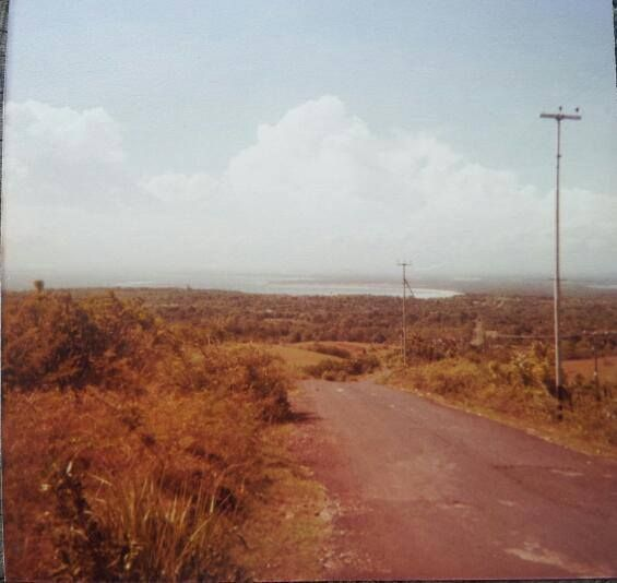 Looking back to Kuta on the way to Uluwatu, top of the hill. May 1980