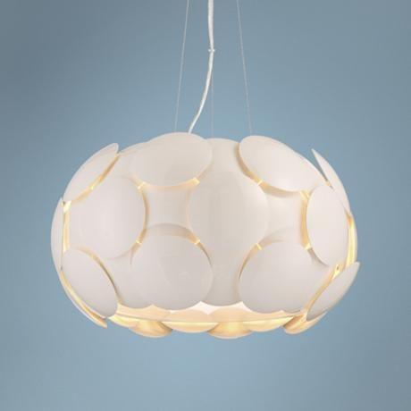 """Possini Euro Lillard 20"""" Wide Glossy White Pendant -"""